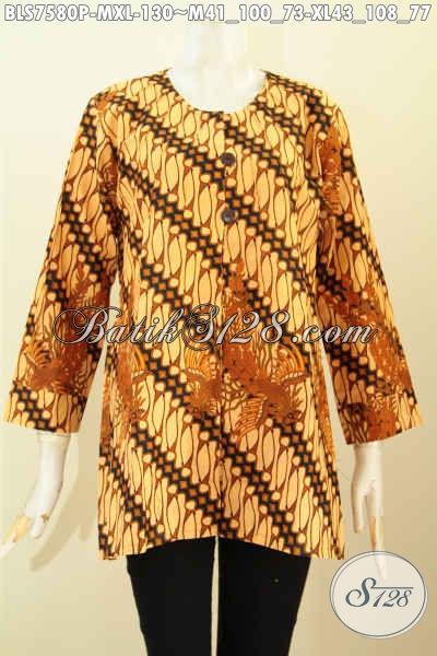 Produk Terbaru Baju Batik Blus Klasik Tanpa Krah, Busana Batik Jawa Terkini Untuk Wanita Terlihat Anggun, Size XL