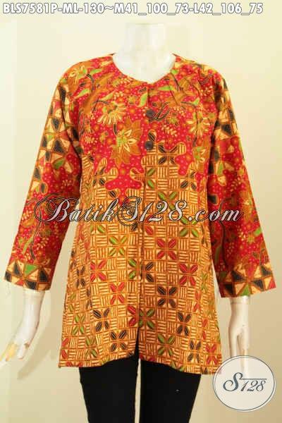 Baju Batik Wanita Etnik, Blus Batik Elegan Tanpa Krah Motif Mewah Proses Printing Untuk Penampilan Lebih Anggun Dan Menawan [BLS7581P-L]