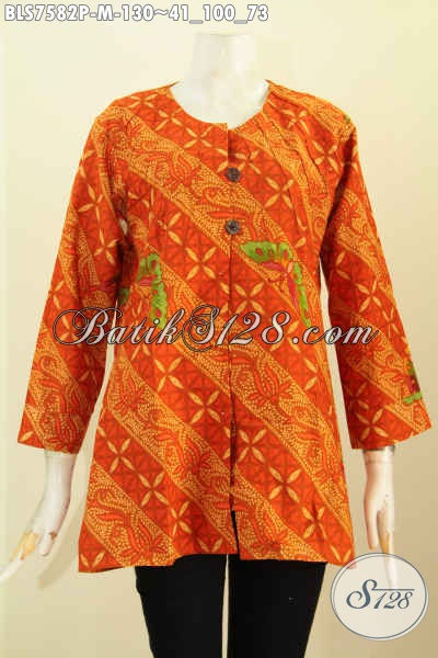 Juragan Batik Online Sedia Blus Tanpa Krah Motif Bagus Proses Printing, Pakaian Batik Istimewa Dengan Harga Biasa Tampil Mempesona, Size M