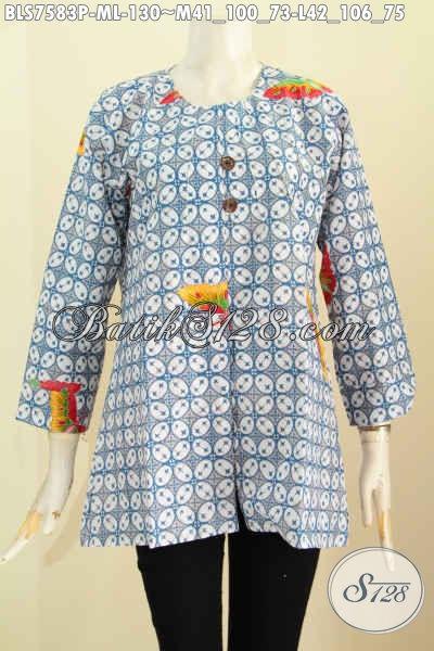 Baju Blus Motif Kawung Warna Cerah, Pakaian Batik Printing Model Tanpa Krah Kwalitas Bagus Buatan Solo Asli 130K [BLS7583P-L]