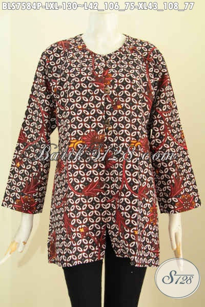 Batik Blus Klasik, Pakaian Batik Tanpa Krah Modis Bahan Halus Proses Printing Harga 130K [BLS7584P-L , XL]