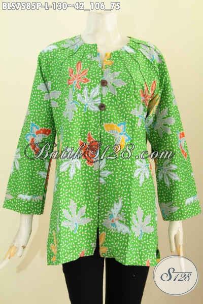 Blus Batik Keren Warna Hijau, Baju Batik Modis Tanpa Krah Motif Trendy Proses Printing Hanya 100 Ribuan Bisa Tampil Mempesona [BLS7585P-L]