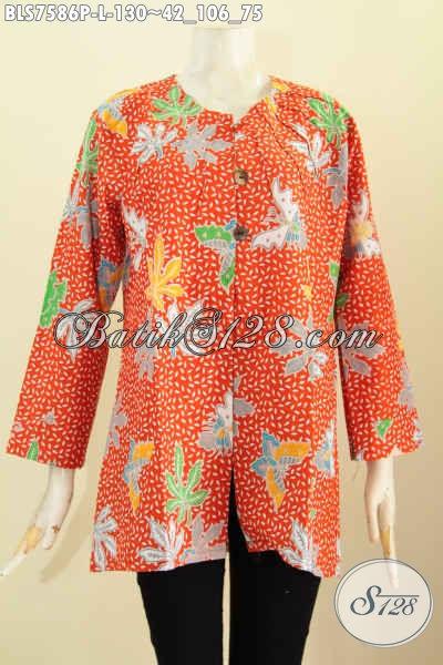 Baju Blus Batik Solo Terkini, Produk Baju Batik Jawa Tengah Istimewa Untuik Tampil Gaya Dan Anggun, Size L