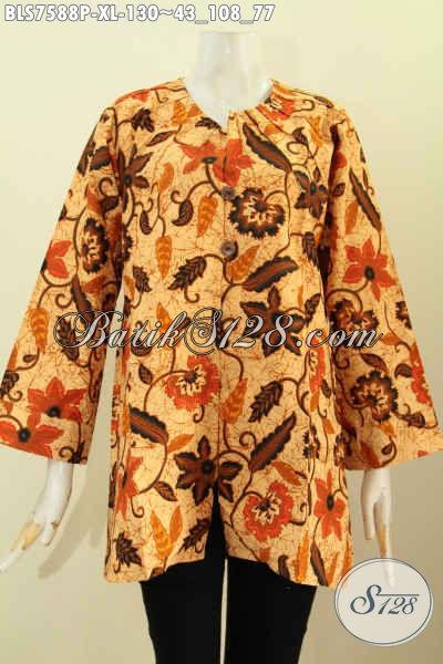 Toko Online Baju Batik Pilihan Paling Komplit, Sedia Blus Tanpa Krah Bahan Halus Motif Mewah Hanya 100 Ribuan, Size XL