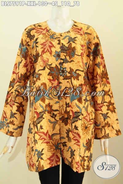 Baju Baju Blus Batik Wanita Gemuk, Pakaian Batik Tanpa Krah Nan Modis Berpadu Motif Elegan Proses Printing Harga 130K, Size XXL