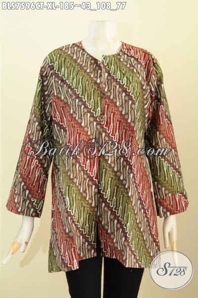 Baju Blus Batik Motif Klasik, Busana Batik Tanpa Krah Proses Cap Tulis, Penampilan Lebih Elegan Dan Anggun [BLS7596CT-XL]