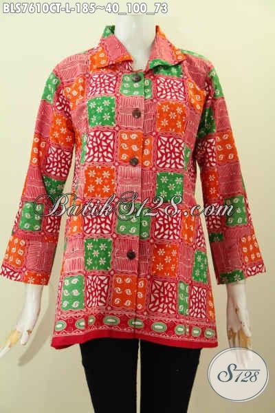 Batik Blus Model Kerah, Baju Batik Motif Unik Nan Trendy, Cocok Buat Kerja Dan Acara Santai Bahan Halus Proses Cap Tulis Harga 185K [BLS7610CT-L]