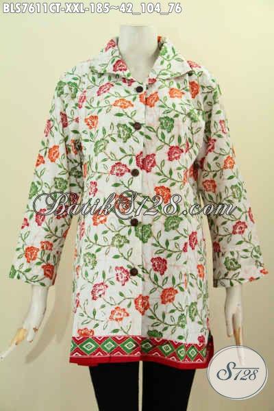 Baju Batik Cap Tulis, Pakaian Batik Modis Motif Bagus Model Krah Bahan Adem Kwalitas Istimewa Untuk Tampil Gaya, Size XXL