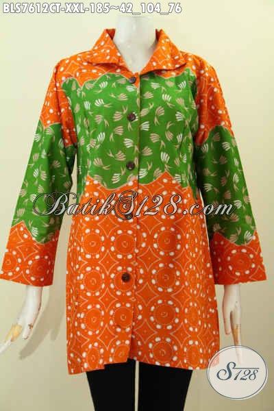Blus Batik Modern Tanpa Krah Motif Kombinasi, Pakaian batik Warna Cerah Cap Tulis Harga 185K, Size XXL