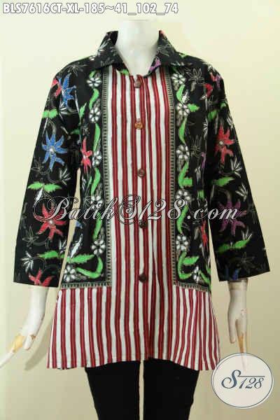 Jual Online Baju Batik Solo Istimewa, Pakaian Batik Tanpa Krah Istimewa Bahan Adem Proses Cap Tulis Motif Kombinasi, Cocok Buat Hangout, Size XL