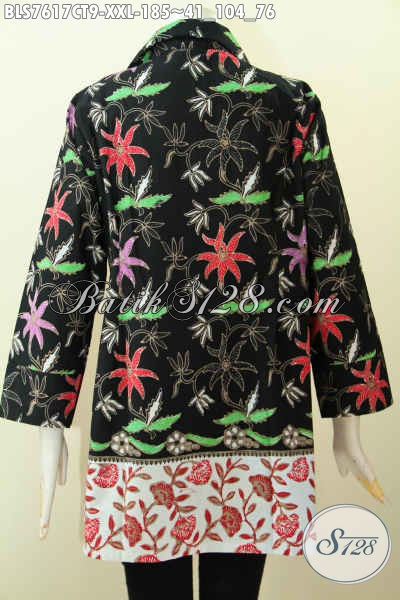 Pakaian Batik Kerja Wanita Gemuk, Blus Tanpa Krah Motif Kombinasi Proses Cap Tulis Desain Kekinian, Tmapil Makin Menawan, Size XXL