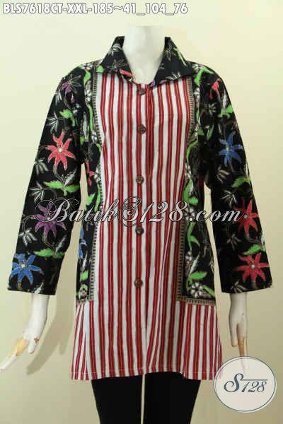 Blus Desan Kerah, Busana Batik Wanita Gemuk Big Size, Baju Batik Modis Cocok Untuk Kerja Dan Santai Di Jual Online 185K Proses Cap Tulis Motif Kombinasi [BLS7618CT-XXL]