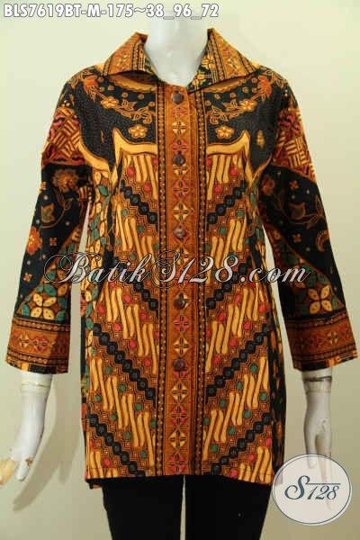 Batik Blus Tanpa Krah Motif Klasik, Pakaian Batik Jawa Terkini Buatan Solo Untuk Kerja Kantoran, Size M