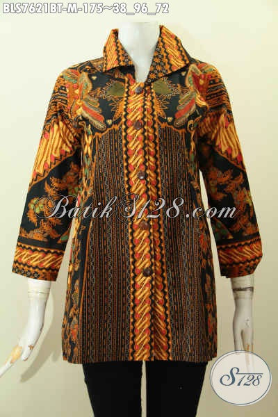 Baju Batik Hem Wanita, Blus Batik Dengan Kerah, Pakaian Batik Motif Klasik Elegan Untuk Kerja Kantoran Wanita Muda [BLS7621BT-M]