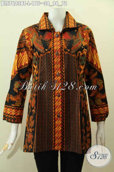Sedia Baju Batik Atasan Wanita, Blus Model Kerah Motif Klasik Kombinasi Tulis, Pakaian Batik Berkelas Untuk Kerja Kantoran Tampil Elegan [BLS7623BT-L]