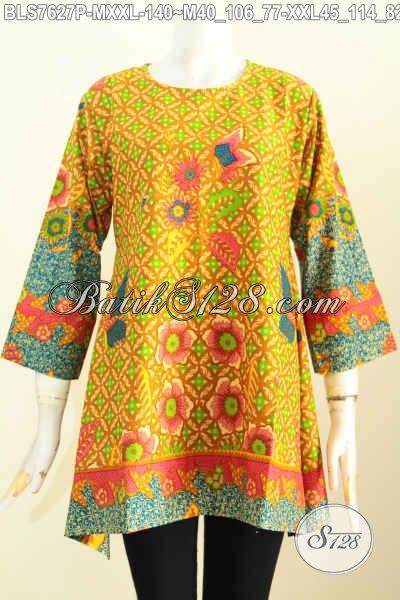 Blus Batik Wanita 2017, Pakaian Batik Terkini Model Kotak Berpadu Motif Trendy Printing Kwalitas Bagus Hanya 140K [BLS7627P-XXL]
