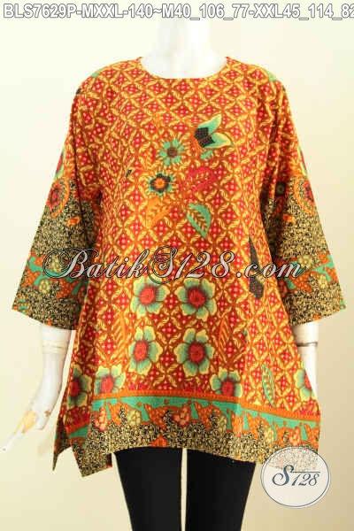 Pusat Baju Batik Solo Online, Sedia Blus Model Kotak Bahan Adem Proses Printing Motif Bagus Harga 100 Ribuan, Size M – XXL