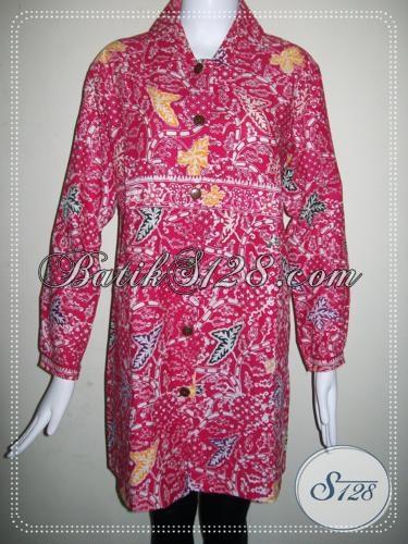 Blus Batik Lengan Panjang Untuk Wanita,Batik Warna Merah Muda [BLS762C]