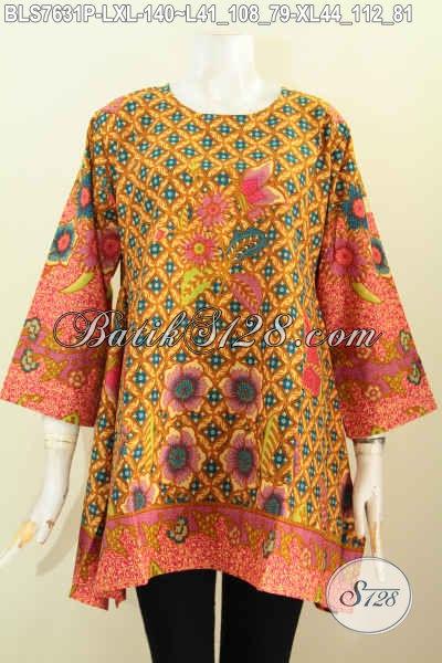 Sedia Blus Batik Kerja Keren, Baju Batik Model Kotak Motif Bagus Proses Printing, Penampilan Makin Trendy Hanya 140K [BLS7631P-L , XL]