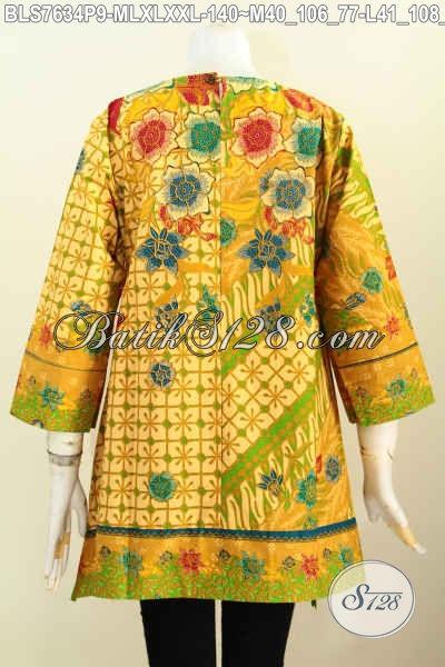 Jual Online Pakaian Batik Wanita Terkini, Aneka Baju Batik Blus Model Kotak 2017 Yang Bikin Wanita Terlihat Anggun Mempesona [BLS7634P-L]