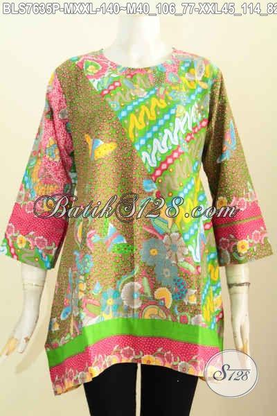 Blus Batik Motif Kombinasi, Pakaian Batik Jawa Etnik, Busana Batik Model Kotak Proses Printing Hanya 100 Ribuan Bisa Tampil Gaya [BLS7635P-M]
