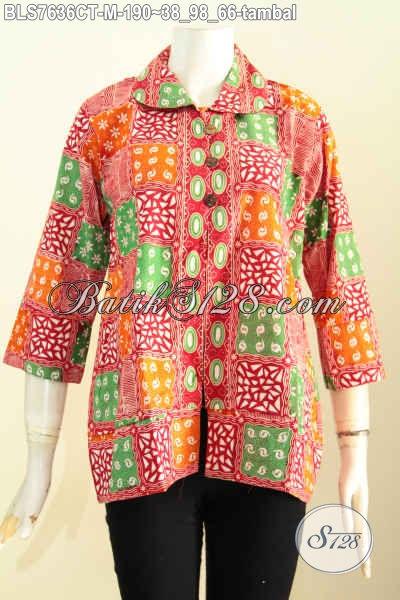 Desain Baju Batik Cewek Terkini Rilis 2017, Blus Batik Kerah Bulat Kancing Depan Motif Trendy Cap Tulis, Pas Buat Hangout [BLS7636CT-M]