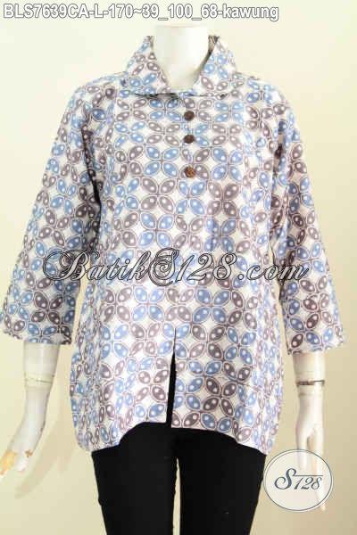 Batik Blus Klasik Warna Cerah, Baju Batik Solo Cap Warna ALam Motif Kawung Desain Kerah Bulat Kancing Depan Nan Istimewa [BLS7639CA-L]