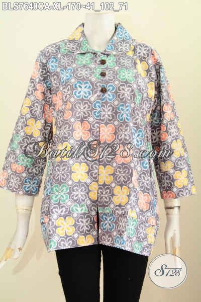 Jual Baju Batik Wanita Trendy, Blus Batik Kerja Model Kerah Bulat Motif Bagus Pakai Kancing Depan Modis Dan Keren Hanya 190 Ribu Proses Cap Warna Alam [BLS7640CA-XL]