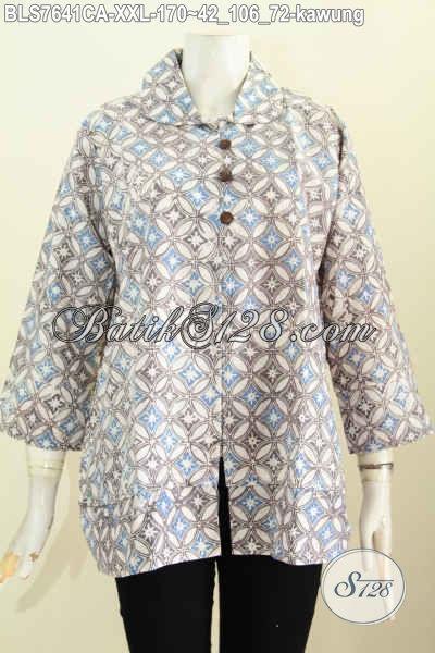 Baju Batik Big Size, Pakaian Batik Solo Halus Motif Kawung Proses Cap Warna Alam Desain Kerah Bulat Dengan Kancing Depan Hanya 170K [BLS7641CA-XXL]