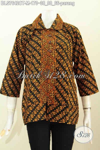 Produk Pakaian Batik Wanita Terbaru, Busana Batik Modern Motif Klasik Parang Proses Cap Tulis Model Kerah Bulat Harga 170K, Size M