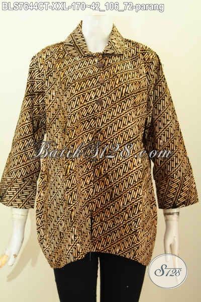 Big Size Busana Batik Kerja Wanita Gamuk, Baju Blus Istimewa Motif Parang Klasik Model Kerah Bulat Kancing Depan, Penampilan Lebih Anggun [BLS7644CT-XXL]