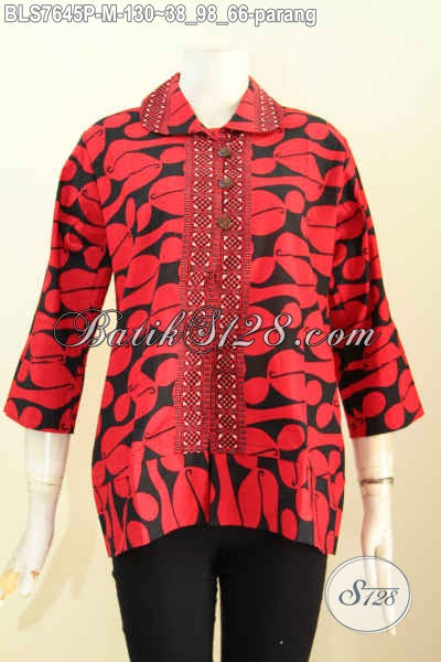 Blus Batik Monokrom Motif Parang, Pakaian Batik Kerah Bulat Proses Printing, Elegan Buat Kerja Dan Acara Resmi [BLS7645P-M]