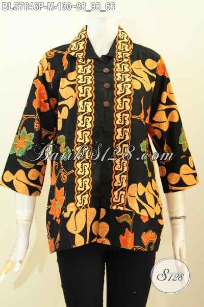 Blus Kerah Bulat Kancing Depan Model Pakaian Batik Wanita 2017, Busana Batik Printing Solo Kwalitas Halus Untuk Kerja Dan Jalan-Jalan [BLS7646P-M]