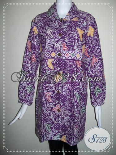Baju BAtik Wanita Lengan Panjang Warna Ungu Elegan [BLS764C]