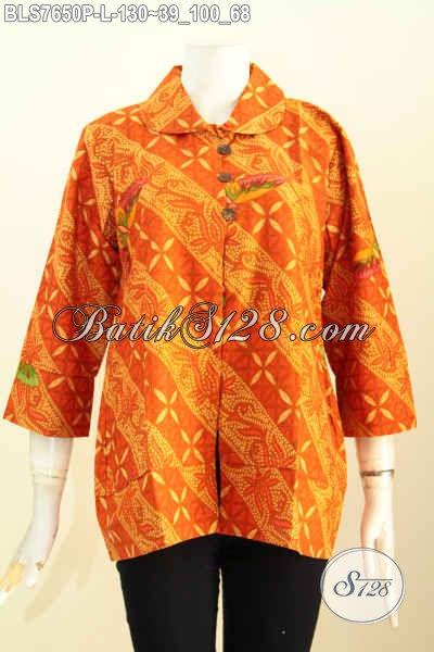 Baju Blus Batik Krah Bulat Nan Istimewa, Pakaian Batik Modern Khas Wanita Kantoran Hargqa 130 Ribu Saja, Size L