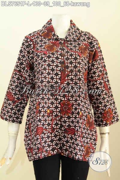 Batik Blus Motif Kawung, Pakaian Batik Jawa Etnik Model Kerah Bulat Dengan Kancing Depan Trend 2017 Hanya 100 Ribuan [BLS7651P-L]