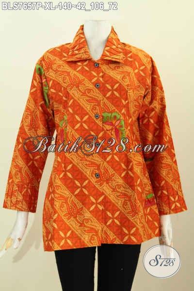 Blus Batik Kekinian, Baju Batik Modern Nan Istimewa, Produk Pakaian Batik Jawa Desain Ofneisel Krah Dan Lengan Ukuran XL