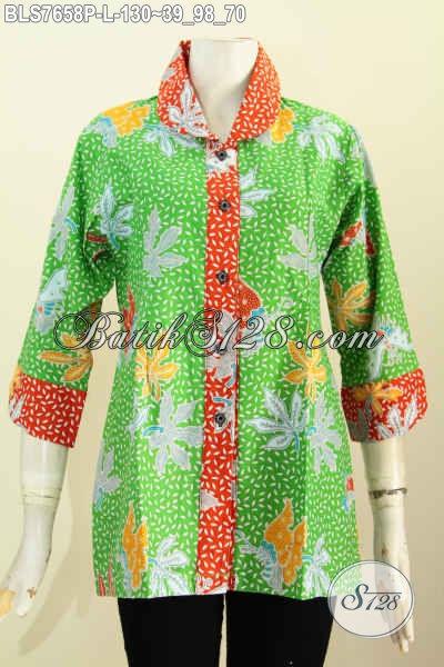 Blus Batik Kerah Bulat Warna Cerah, Pakaian Batik Wanita Terkini, Cocok Buat Santai Dan Resmi, Size L