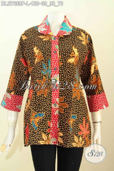Blus Batik Untuk Muda Dan Dewasa, Baju Batik Model 2018 Kerah Bulat Wanita Masa Kini Tampil Gaya Mempesona [BLS7659P-L]