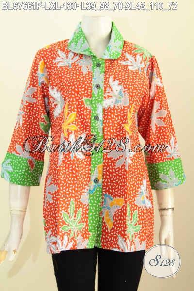 Model Baju Batik Terbaru 2017 Kerah Bulat Wanita Karir, Pakaian Batik Istimewa Bahan Adem Proses Printing Motif Bagus Harga 100 Ribuan [BLS7661P-L]