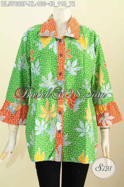 Baju Batik Wanita Dewasa Blus Batik Solo Modern Keren Warna Hijau