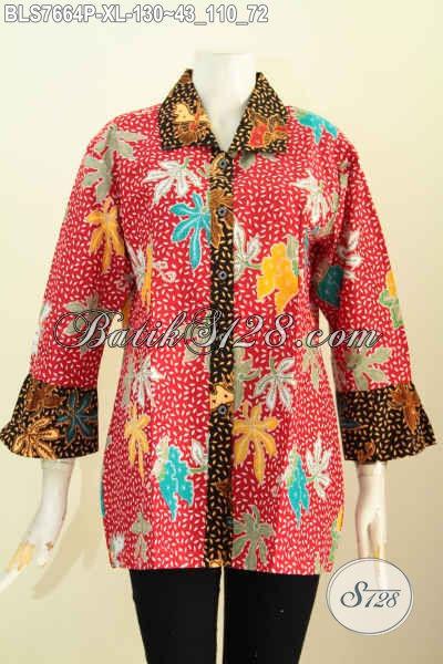 Juragan Batik Istimewa, Baju Batik Solo Halus Modis Kwalitas Bagus Hanya 100 Ribuan Model Krah Bulat, Size XL