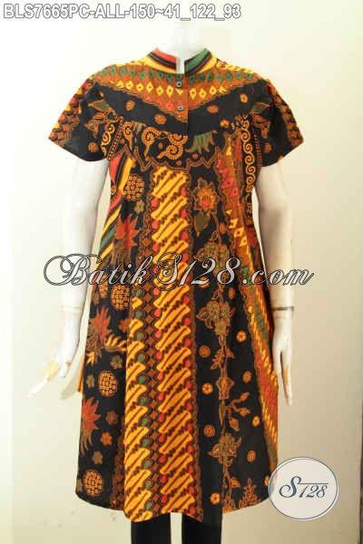 Baju Batik Wanita Lengan Pendek Kerah Shanghai 2017, Busana Batik Jawa Etnik Motif Klasik Proses Printing, Tampil Anggun Menawan [BLS7665PC-All Size]