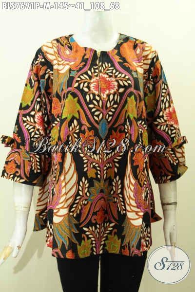 Baju Batik Santai Untuk Wanita Muda, Blus Keren Model Pita Dengan Resleting Depan, Berbahan Halus Motif Unik Printing, Tampil Lebih Modis [BLS7691P-M]
