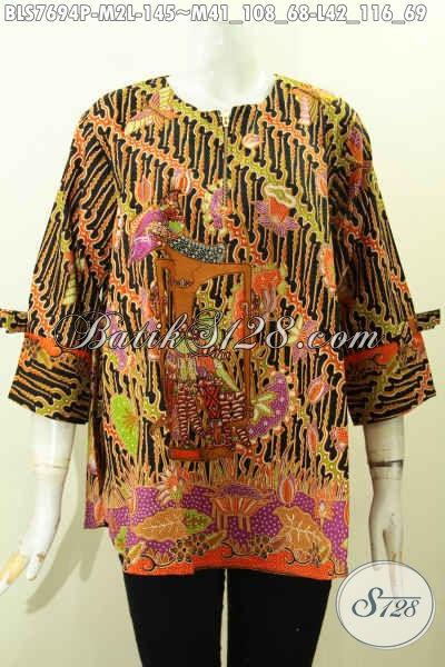 Jual Online Batik Blus Solo, Pakaian Batik Wanita Terkini Bahan Halus Model Pita Denagn Resleting Depan Hanya 100 Ribuan [BLS7694-M]