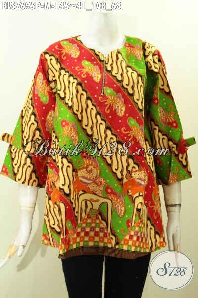 Batik Blus Keren Motif Klasik, Baju Batik Printing Solo Kwalitas Bagus Bahan Adem Untuk Tampil Gaya Dan Mempesona, Size M