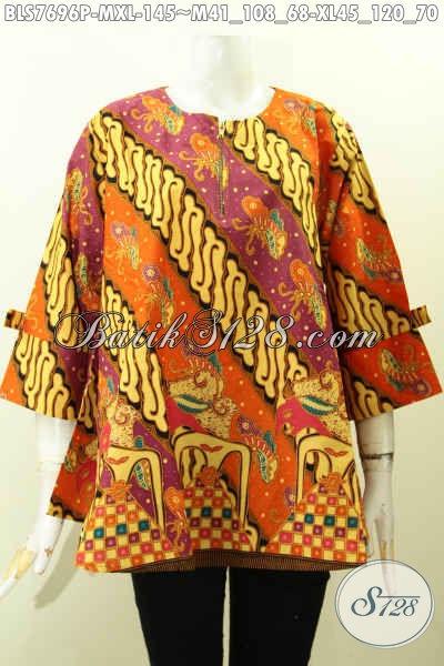 Baju Blus Kerja Wanita Karir, Pakaian Batik Keren Untuk Tampil Gaya, Hadir Dengan Model Pita Dan Resleting Depan, Di Jual Online 145K [BLS7696P-M , XL]