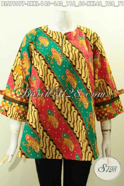 Jual Online Batik Blus Modern, Pakaian Batik Keren Model Pita Motif ELegan Proses Printing Di Lengkapi Resleting Depan, Tampil Makin Modis [BLS7697P-XXL]