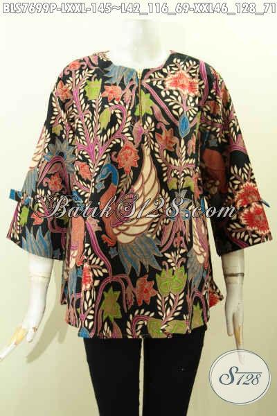 Busana Batik Kerja Desain Modern, Blus Batik Resleting Depan Pakai Pita Lengan Bikin Tampil Modis Dan Gaya, Size L