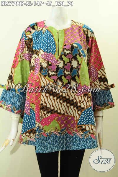 Jual Online Baju Batik Solo Terkini, Blus Batik Motif Unik Desain Pita Lengan Di Lengkapi Resleting Depan, Wanita Terlihat Modis Harga 145K Size XL